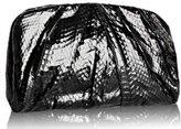 black pleated snake leather 'Uma' clutch