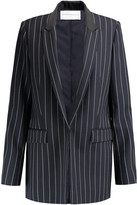 Amanda Wakeley Pinstriped Satin-Trimmed Wool-Twill Blazer