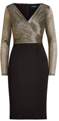 Ralph Lauren Metallic-Bodice Jersey Dress