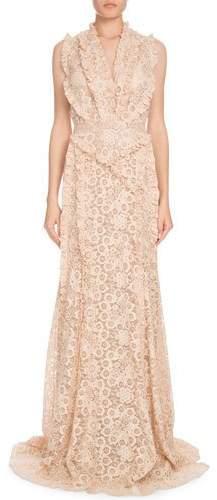 Altuzarra Medina Sleeveless Floral-Lace Column Evening Gown w/ Ruffled Trim