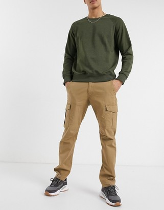 Jack and Jones Intelligence slim fit cargo trousers in dark sand
