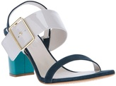 contrast block heel sandal