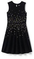 Classic Little Girls Sparkle Ponte Dress-Black Cascading Sequins