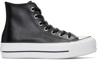 Converse Black Leather Chuck Taylor All Star Lift Clean High Sneakers