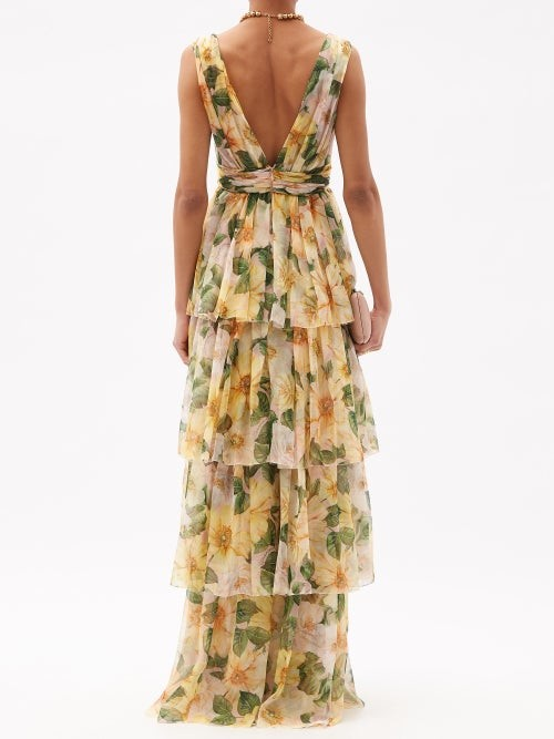 Thumbnail for your product : Dolce & Gabbana Tiered Camellia-print Silk-chiffon Gown - Yellow Multi