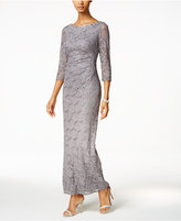 Jessica Howard Sequined Lace Draped Column Gown