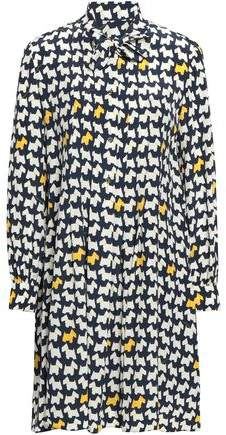 Moschino Pussy-bow Printed Crepe De Chine Shirt Dress