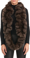 Gorski Sable Fur Knit Infinity Scarf with Ruffles