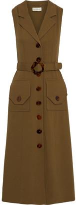 Nicholas Belted Twill Midi Dress