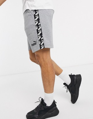 Puma sweat shorts with logo taping in gray