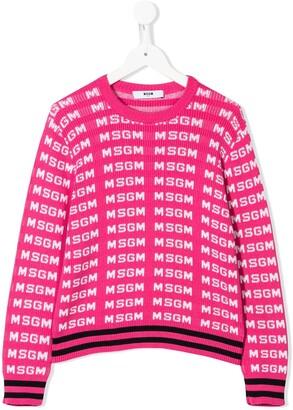Msgm Kids Monogram Knit Jumper