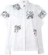 Kenzo embroidery ruffle sleeve blouse - women - Cotton - 36