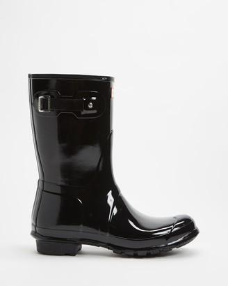 Hunter Women's Black Gumboots - Original Short Wellington Boots - Women's - Size 5 at The Iconic