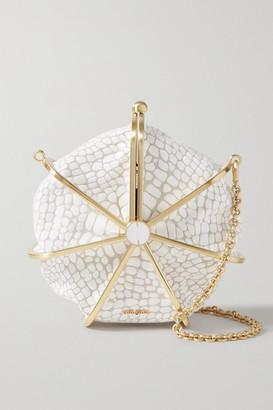 Cult Gaia Nika Croc-effect Leather Shoulder Bag - White