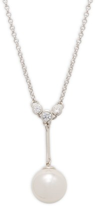 Majorica Sterling Silver, Organic Man-Made Pearl & Crystal Pendant Necklace