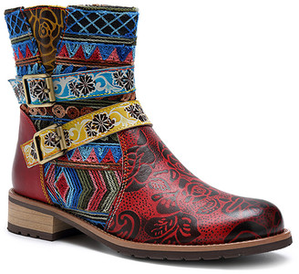 Iliyah Women's Casual boots red - Red & Blue Abstract Leather Ankle Boot - Women