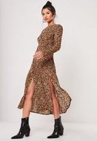 Missguided Brown Leopard Print Long Sleeve Midi Dress