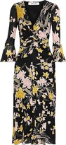 Diane von Furstenberg Silas Ruched Floral-print Stretch-mesh Midi Dress