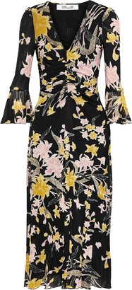 Diane von Furstenberg Silas Ruched Floral-print Stretch-mesh Midi Dress