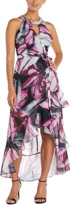 Nightway Printed High-Low Dress
