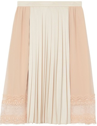Burberry Lace Detail Silk Panel Pleated Skirt