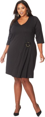 Just My Size Women's Plus 3/4-Sleeve Golden Ring Dress