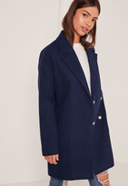 Missguided Navy Drop Shoulder Double Breasted Faux Wool Coat