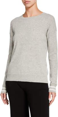 Amicale Cashmere Drop-Shoulder Crewneck Sweater with Stripe Trim