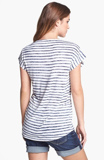 Vince Camuto Two by Stud Stripe Tee New Navy X-Large
