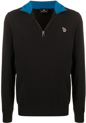 Paul Smith Logo Knitted Zip Jumper
