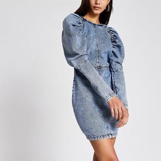 River Island Blue puff sleeve bodycon denim mini dress