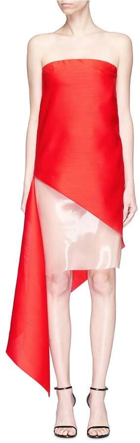 Dion Lee Colourblock panel asymmetric sail strapless dress