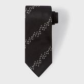 Paul Smith Men's Black Musical Notes Stripe Silk Tie