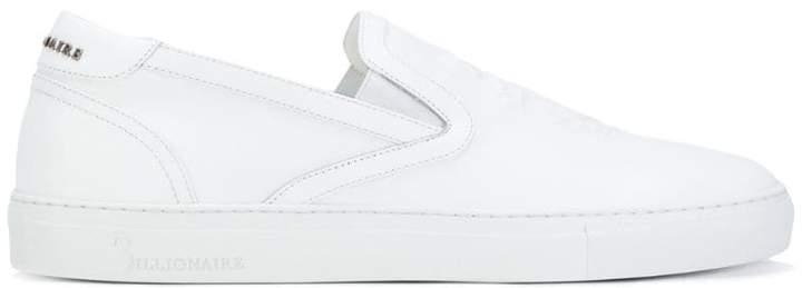 Billionaire crest emblem slip-on sneakers