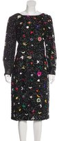 Suno Leather-Trimmed Sequin Dress