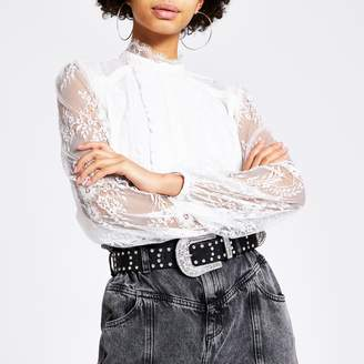 River Island Womens White lace long sleeve frill front blouse