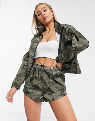 Brave Soul utility zip through jacket co-ord in khaki camo