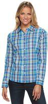 Caribbean Joe Plaid Button-Down Roll-Tab Shirt - Women's