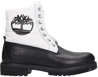 Timberland 6 Prem Puffer Combat Boots In White Tech/synthetic