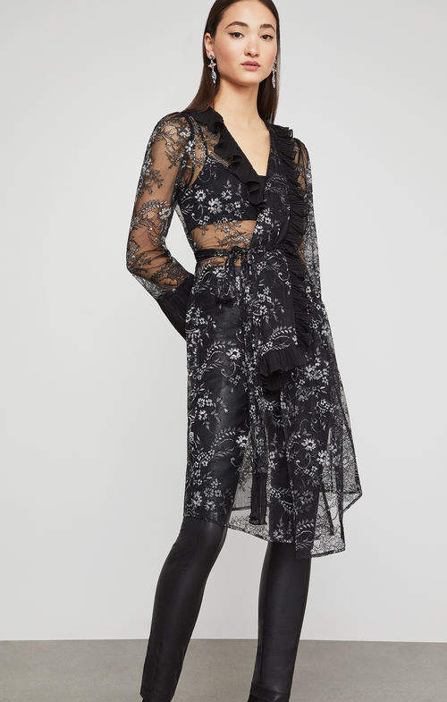 BCBGMAXAZRIA Metallic Floral Robe Jacket