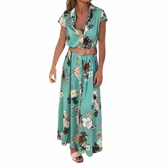 Zerototens Women Dress Zerototens Maxi Shirt Dress Women Short Sleeve Oriental Floral Printed Button Down Up Shirt Long Dress with Belts Plus Size Ladies Dress Party Evening Wedding Sundress Blue