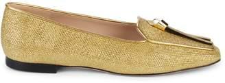 Stuart Weitzman Slipknot Glitter Slip-On Loafers