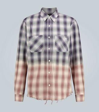 Amiri Gradient frayed checked shirt