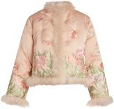 Alexander McQueen Embroidered feather-trimmed silk jacket