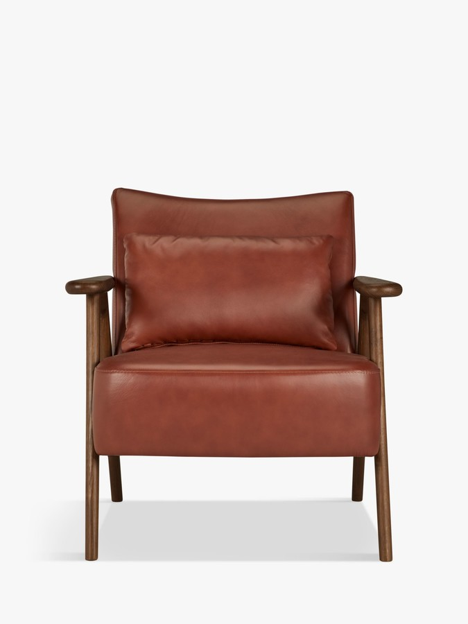 John Lewis & Partners Hendricks Leather Armchair, Dark Wood Frame