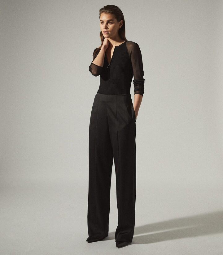 Reiss Lia - Zip Neck Top With Sheer Sleeves in Black