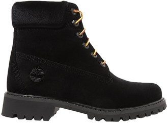 Off WhiteTM Off-white + Timberland Logo-embossed Velvet Ankle Boots