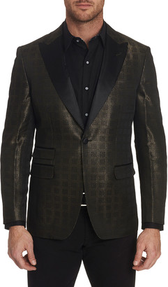 Robert Graham Men's Mr. Smith Shiny Peaked-Lapel Sport Jacket w/ Contrast Reverse Collar