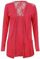 GirlsWalk Girls Walk Women's Half Floral Lace Back Boyfriend Drop Pocket Cardigan Top