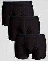 Asos Trunks In Grid Microfibre In Black 3 Pack